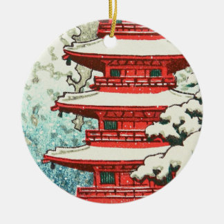 Pagoda in the Snow Kawase Hasui shin hanga art Round Ceramic Ornament