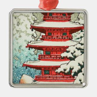 Pagoda in the Snow Kawase Hasui shin hanga art Silver-Colored Square Ornament