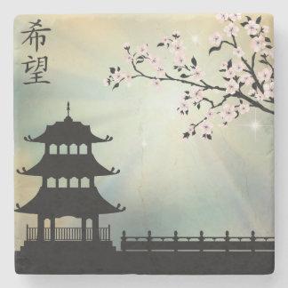 """Pagoda ray of light """"Hope"""" Stone Coaster"""