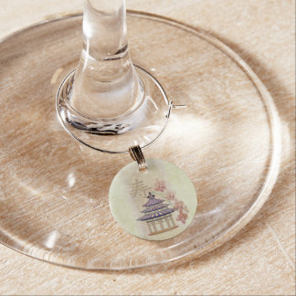 Pagoda Rose Mixed Media Oriental Wine Glass Charms