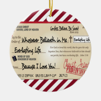 Paid in Full Saved by Jesus Check Christian Round Ceramic Ornament
