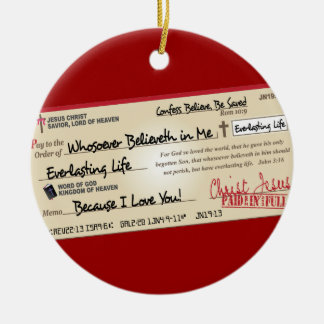 Paid in Full Saved by Jesus Check Round Ceramic Ornament
