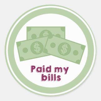 Paid my Bill Adult Reward Sticker