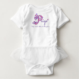 Paige P monogram name meaning hearts baby girl Baby Bodysuit