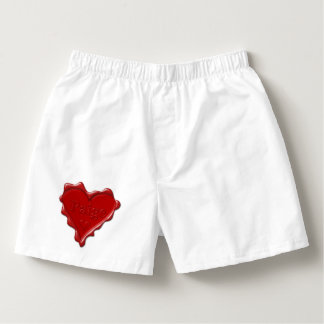 Paige. Red heart wax seal with name Paige Boxers
