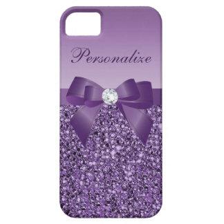 Paillettes, arc et diamant pourpres imprimés coque iPhone 5