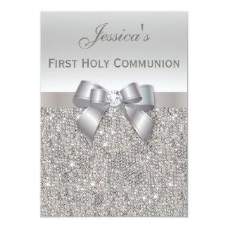 Paillettes argentées et arc de première sainte carton d'invitation  12,7 cm x 17,78 cm