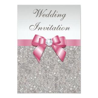 Paillettes argentées imprimées et mariage rose invitation personnalisable