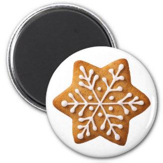 Pain d'épice de Noël de forme d'étoile Magnet Rond 8 Cm