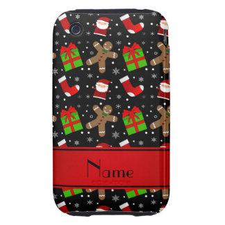 Pain d'épice noir nommé fait sur commande de Santa Étuis iPhone 3 Tough