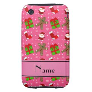 Pain d'épice rose nommé fait sur commande de Santa Coques iPhone 3 Tough
