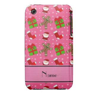 Pain d'épice rose nommé fait sur commande de Santa Coque iPhone 3 Case-Mate