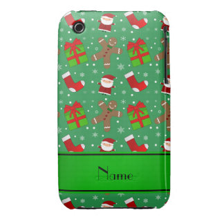 Pain d'épice vert nommé fait sur commande de Santa Étui iPhone 3