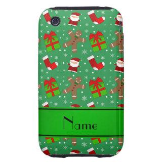 Pain d'épice vert nommé fait sur commande de Santa Coque iPhone 3 Tough
