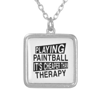 PAINT BALL It Is Cheaper Than Therapy Silver Plated Necklace