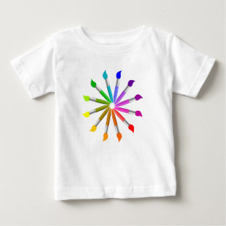 Paint Brush Color Wheel, Art Teacher color theory Baby T-Shirt