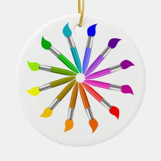Paint Brush Color Wheel, Art Teacher color theory Ceramic Ornament