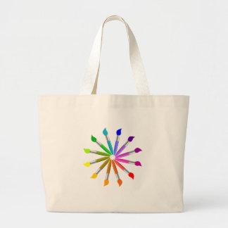 Paint Brush Color Wheel, Art Teacher color theory Large Tote Bag