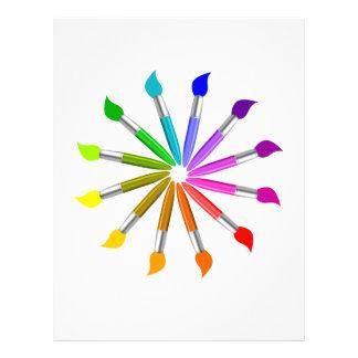Paint Brush Color Wheel, Art Teacher color theory Letterhead