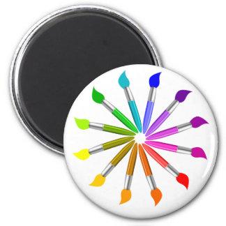 Paint Brush Color Wheel, Art Teacher color theory Magnet
