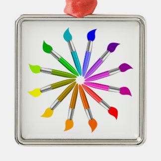 Paint Brush Color Wheel, Art Teacher color theory Metal Ornament