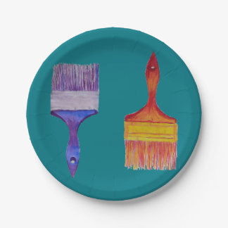 paint brush party paper plates 7 inch paper plate
