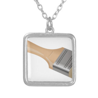 Paint Brush Silver Plated Necklace