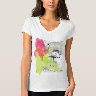 Paint Brush Stroke Beach Flamingo Bird, V-neck Tee