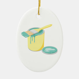 Paint Can & Brush Ceramic Ornament