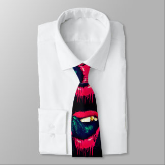 paint drip lips and grill mens tie