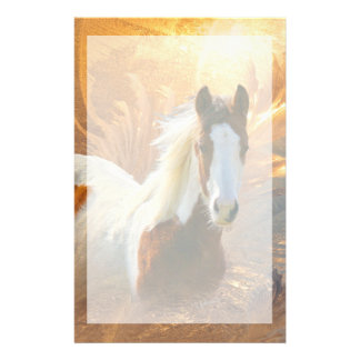 Paint Horse Gold Stationery