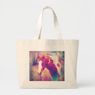Paint Horse Grunge Large Tote Bag