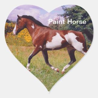 Paint Horse trotting Heart Sticker