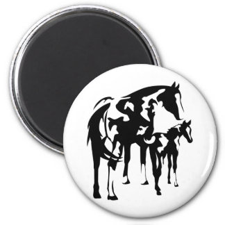 Paint Mare and Foal 2 Inch Round Magnet
