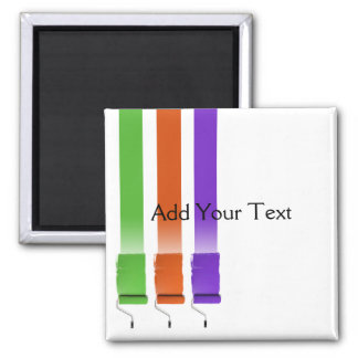 Paint Roller Stripes in Green Orange and Purple Square Magnet