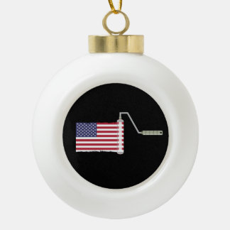 PAINT ROLLER USA with shadow all shops side Ceramic Ball Christmas Ornament