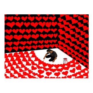 Paint self into corner with red hearts for love postcard