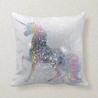 Paint Splash Unicorn Throw Pillow