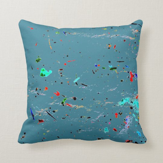 Paint Splashes and Spots Abstract Art Throw Pillow
