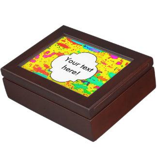Paint splashes on a yellow background keepsake box