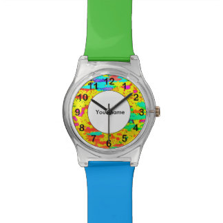 Paint splashes on a yellow background watch