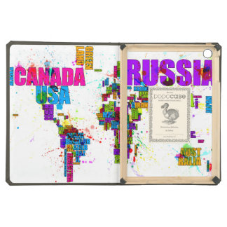 Paint Splashes Text Map of the World Case For iPad Air
