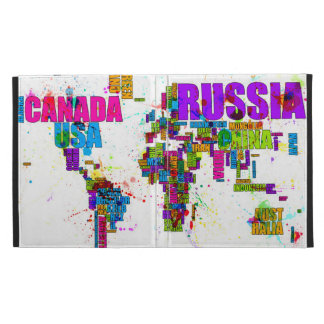 Paint Splashes Text Map of the World iPad Case