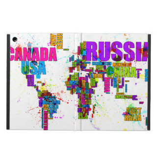 Paint Splashes Text Map of the World iPad Air Cover