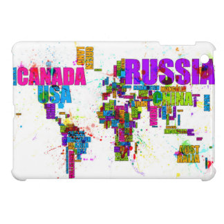 Paint Splashes Text Map of the World Cover For The iPad Mini