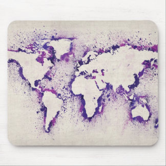 Paint Splashes Text Map of the World Mouse Pad