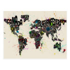 Paint Splashes Text Map of the World Postcard