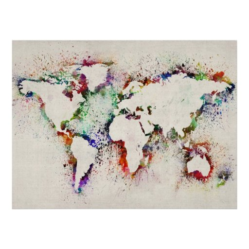 Paint Splashes Text Map of the World Posters