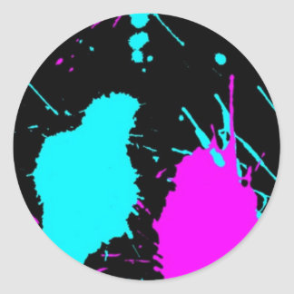 Paint Splat- Light Blue/ Light Purple Classic Round Sticker