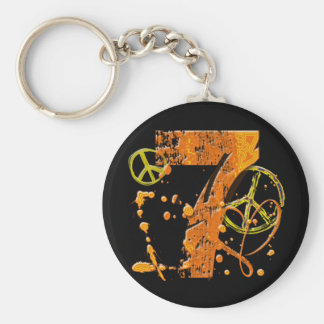 PAINT SPLATTER #7 & PEACE SIGNS KEYCHAIN